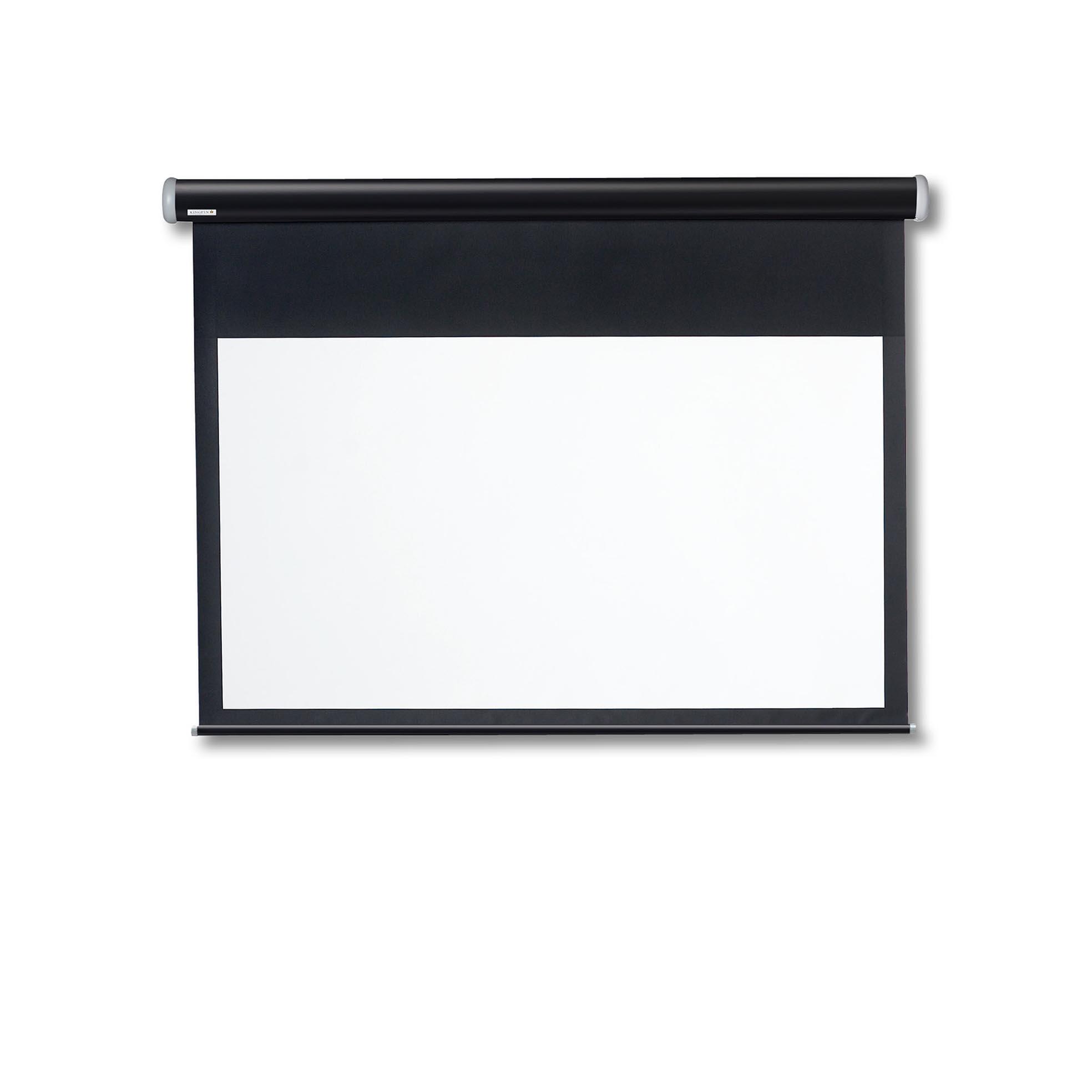 Motordriven filmduk med svart kassett från Kingpin Screens