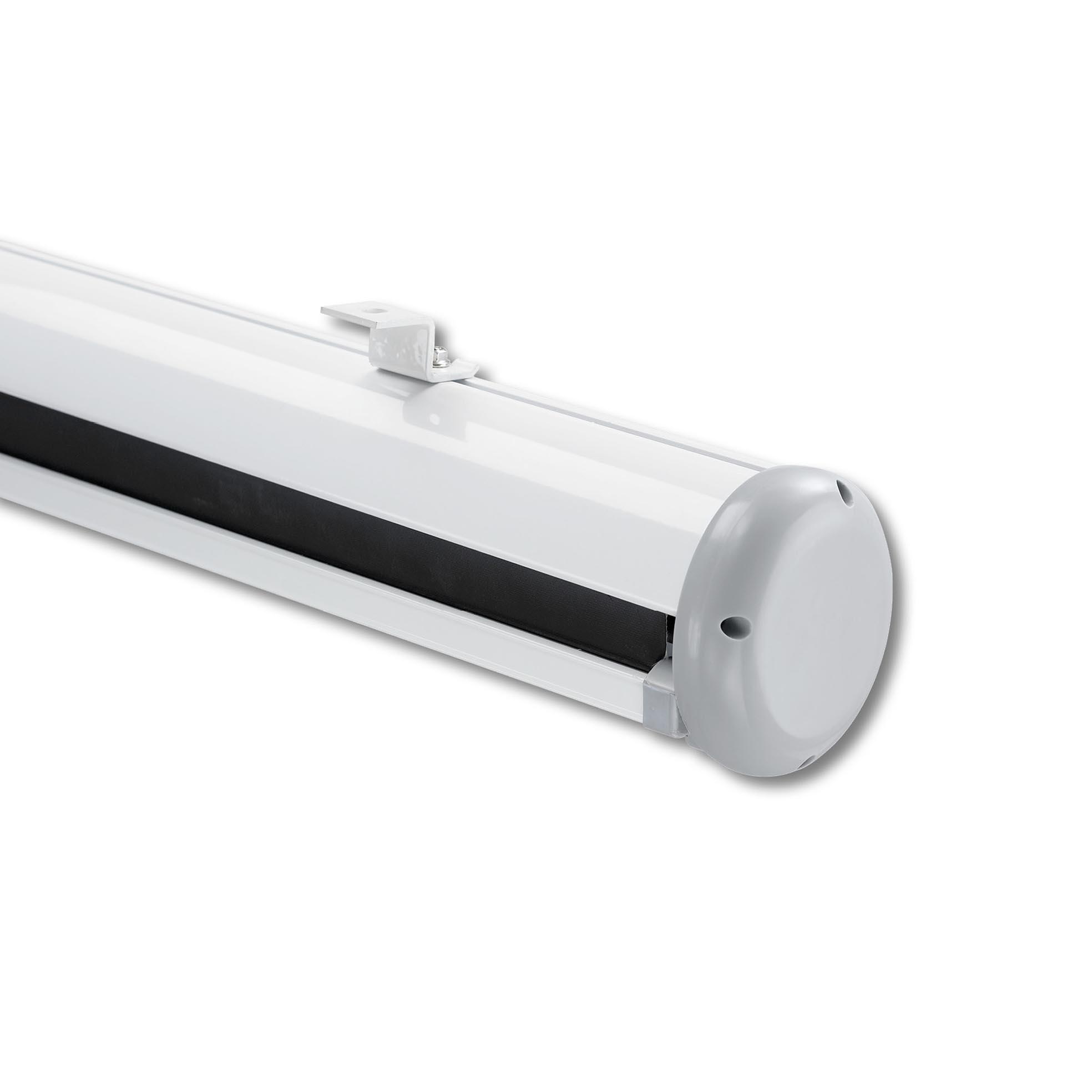 Elektrisk filmduk för hemmabio och kontor, detaljbild upphängningsfäste takmontering, från Kingpin