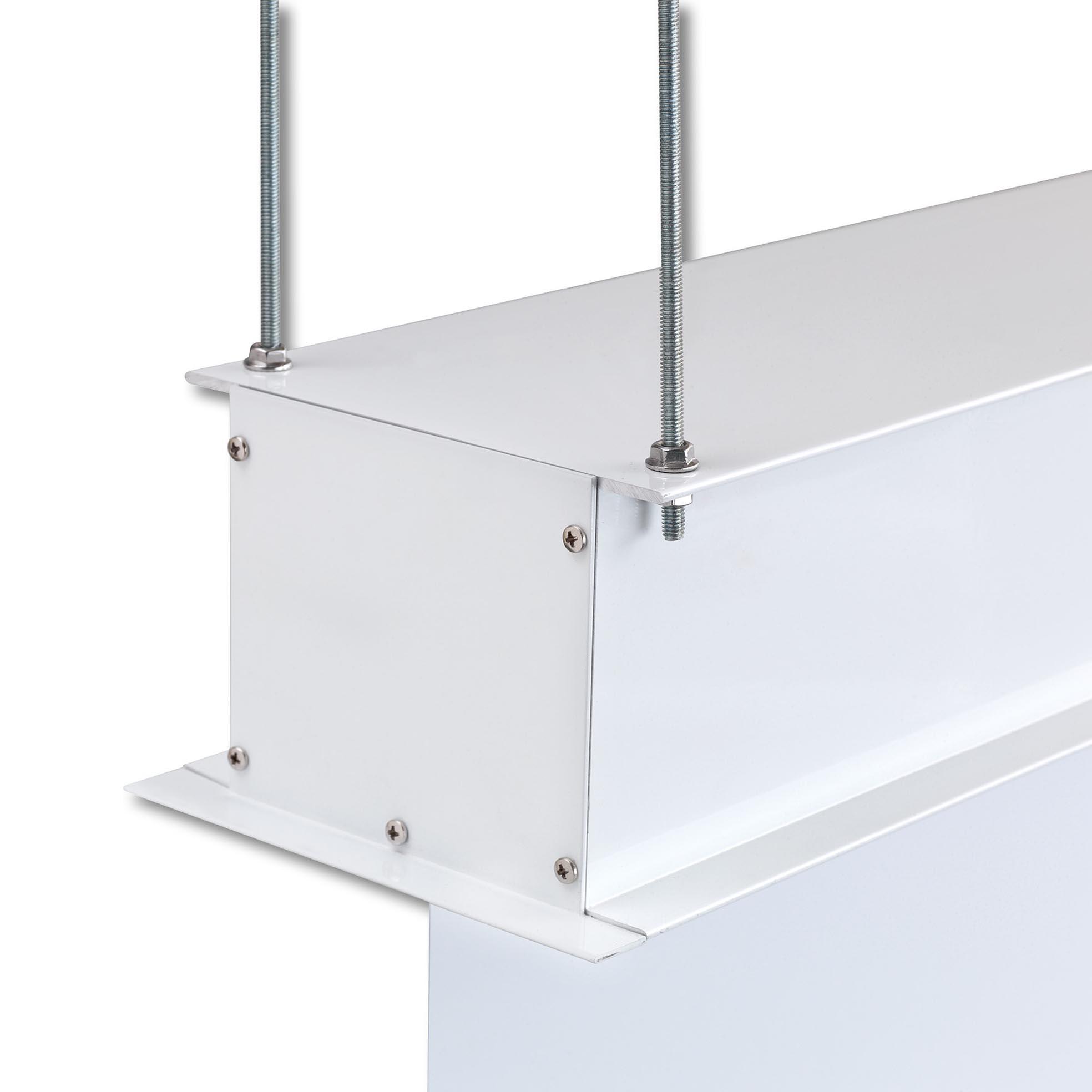 Filmduk för inbyggnad i tak för projektor, detaljbild upphängningsfästen och kassett, från Kingpin Screens