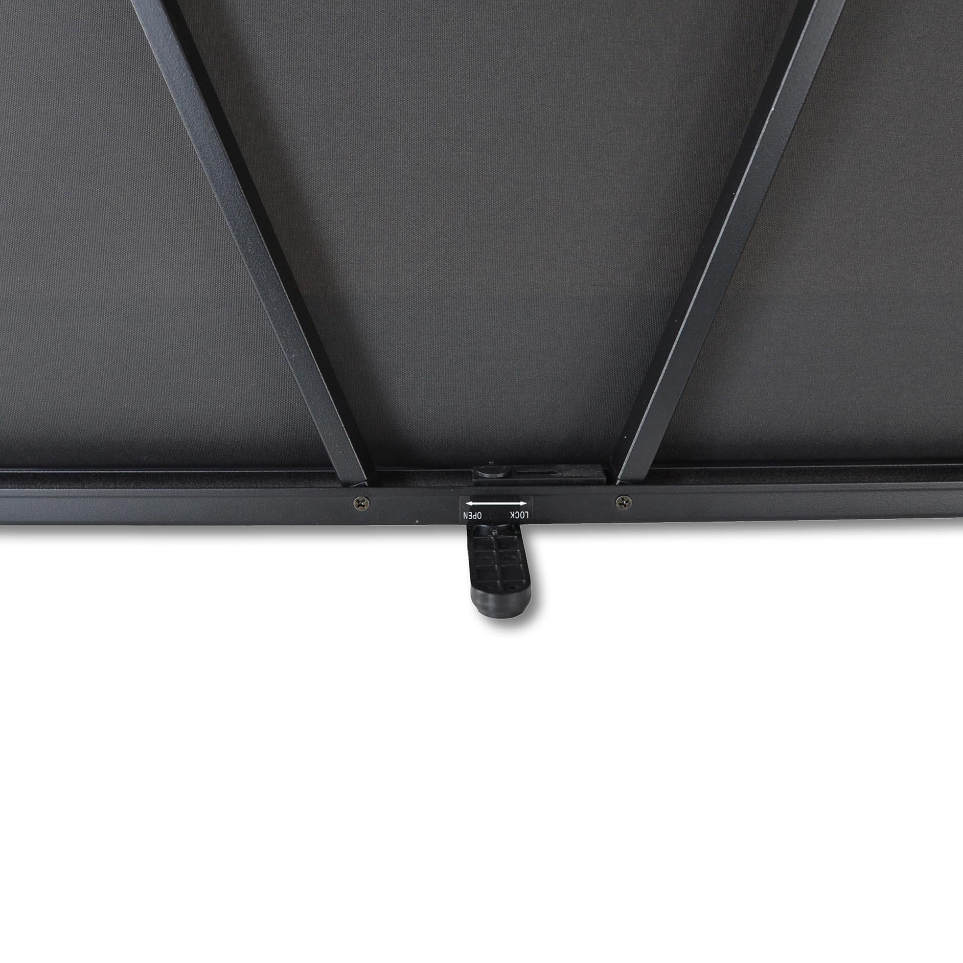 Liten filmduk för placering på bord, detalj på stödbenet, från Kingpin Screens