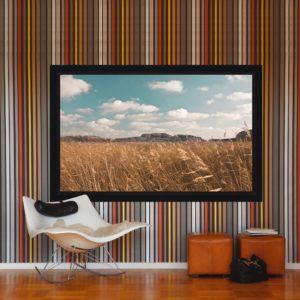 Ramspänd filmduk i snyggt biorum från Kingpin Screens